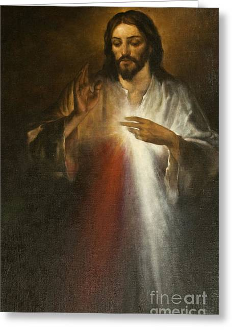 Praying Hands Paintings Greeting Cards - Jesus of Divine Mercy Greeting Card by Dan Radi