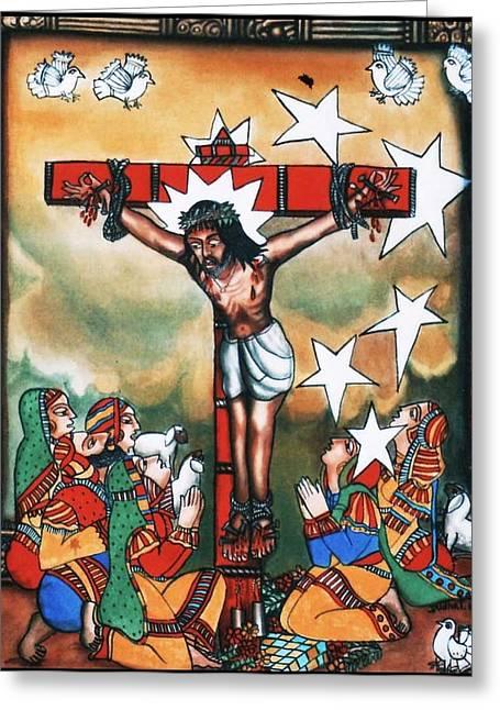 Frame Greeting Cards - Jesus-on-Cross Greeting Card by Bhanu Dudhat