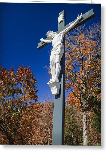 Believers Greeting Cards - Jesus on the Cross Greeting Card by Adam Romanowicz