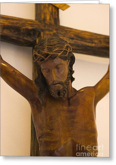 Wooden Sculpture Greeting Cards - Jesus On The Cross Greeting Card by Al Bourassa