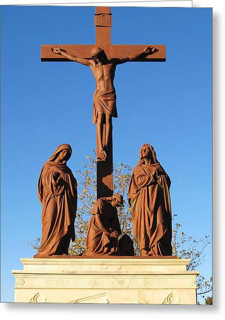 Marbels Greeting Cards - Jesus On The Cross Greeting Card by Donna Wilson