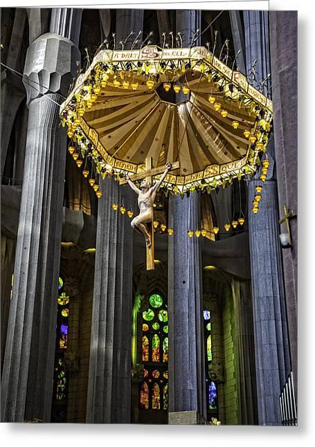 Jesus On Cross Greeting Cards - Jesus On The Cross - Sagrada Familia Church - Barcelona Greeting Card by Madeline Ellis