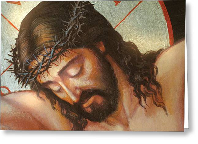 Crucifix Photographs Greeting Cards - Jesus On The Cross Variant 2 Greeting Card by Zorina Baldescu