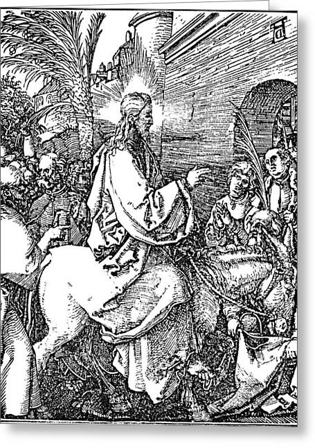 Jesus On The Donkey Palm Sunday Etching Greeting Card by