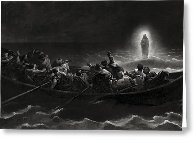 Jesus On The Sea Of Galilee - 1867 Greeting Card by Daniel Hagerman