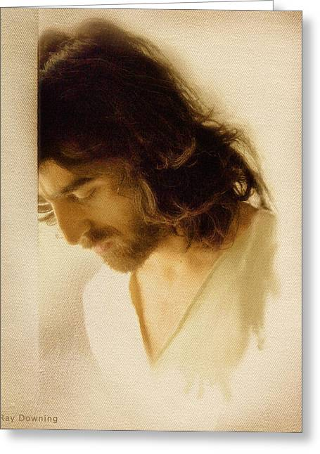 Religious work Digital Greeting Cards - Jesus Praying Greeting Card by Ray Downing