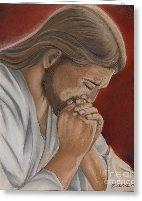 Jesus Pastels Greeting Cards - Jesus Prays Greeting Card by Xiomara Aleksic
