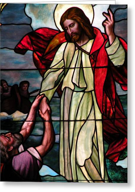 Religious Greeting Cards - Jesus Rescues Peter from the Sea Greeting Card by Kim Bemis