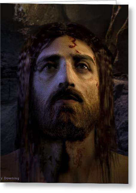 Real Face Digital Art Greeting Cards - Jesus Resurrected Greeting Card by Ray Downing