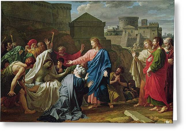 Mother Greeting Cards - Jesus Resurrecting The Son Of The Widow Of Naim Oil On Canvas Greeting Card by Pierre Bouillon