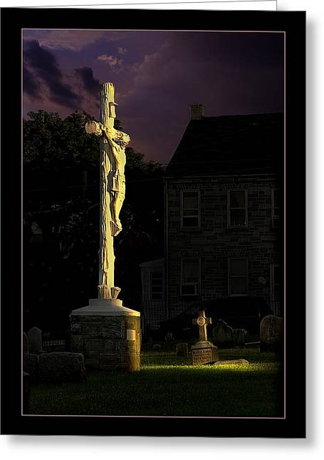 Jesus Crucifixion Framed Prints Greeting Cards - Jesus Greeting Card by Rick Mosher