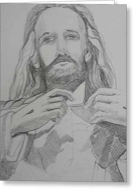 Stigma Drawings Greeting Cards - Jesus Greeting Card by Rosemary Kavanagh
