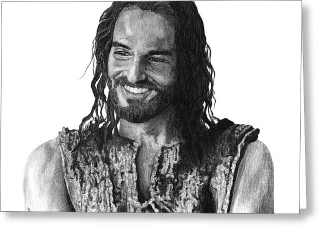 Graphite Art Drawings Greeting Cards - Jesus Smiling Greeting Card by Bobby Shaw