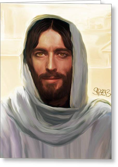Kinkade Mixed Media Greeting Cards - Jesus Smiling Greeting Card by Mark Spears