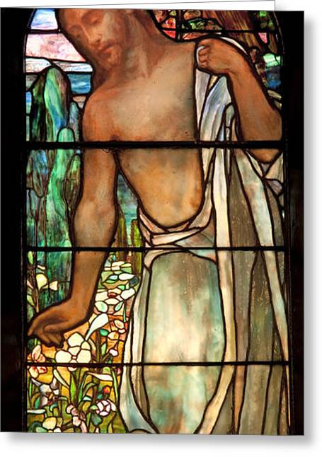 Jesus Glass Art Greeting Cards - Jesus Stained Art - St Pauls Episcopal Church Selma Alabama Greeting Card by Mountain Dreams