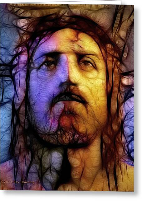 Religious work Digital Greeting Cards - Jesus - Stained Glass Greeting Card by Ray Downing