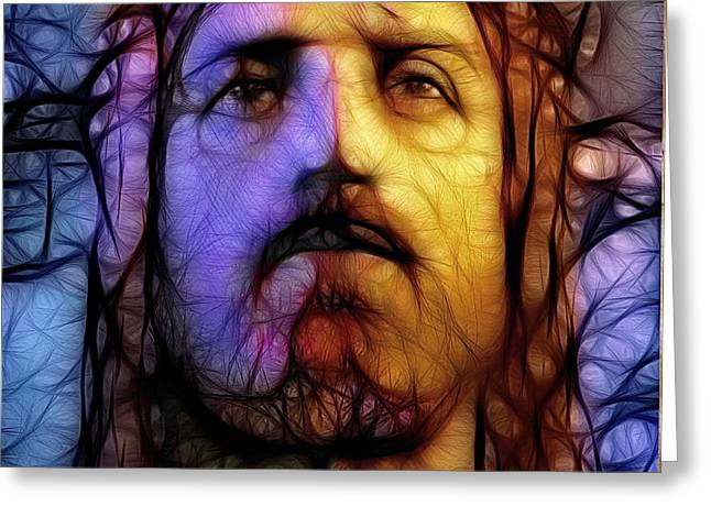 Jesus - Stained Glass Greeting Card by Ray Downing
