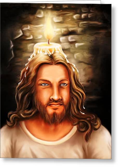 Jesus- The Candle Light Greeting Card by Arun Sivaprasad