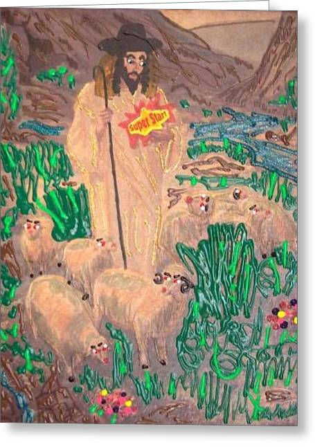Incarnation Mixed Media Greeting Cards - Jesus the Celebrity Greeting Card by Lisa Piper Menkin Stegeman