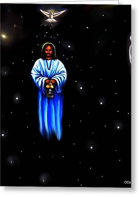 Jesus Christ Pictures Greeting Cards - Jesus - The Guiding Light Greeting Card by Carmen Cordova