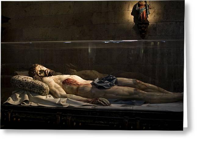 True Cross Greeting Cards - Jesus the Macabre Greeting Card by Lorraine Devon Wilke
