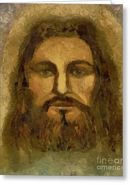 Christianity Pastels Greeting Cards - Jesus The Shroud of Turin Greeting Card by Lance Sheridan-Peel