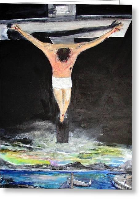Ultimate Sacrifice Greeting Cards - Jesus The Ultimate Sacrifice Greeting Card by Rick Todaro