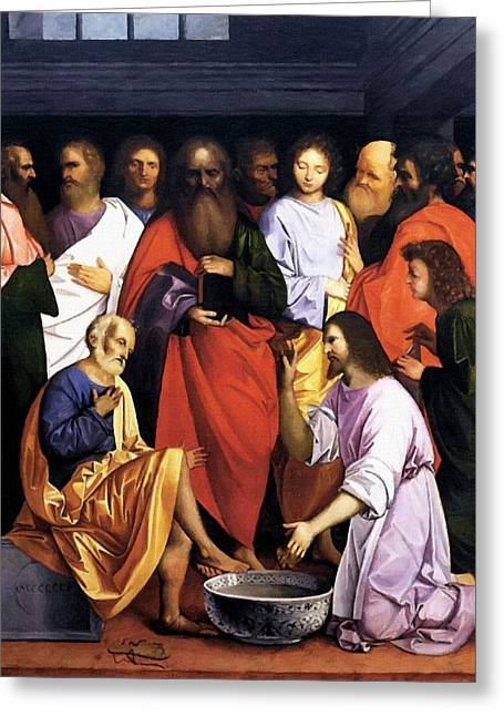Calvary Greeting Cards - Jesus Washing of the Feet Greeting Card by Victor Gladkiy