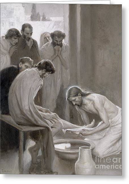 Christianity Paintings Greeting Cards - Jesus Washing the Feet of his Disciples Greeting Card by Albert Gustaf Aristides Edelfelt