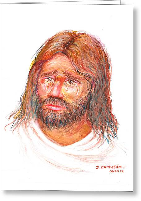 Sorrow Pastels Greeting Cards - Jesus wept Greeting Card by David Zamudio