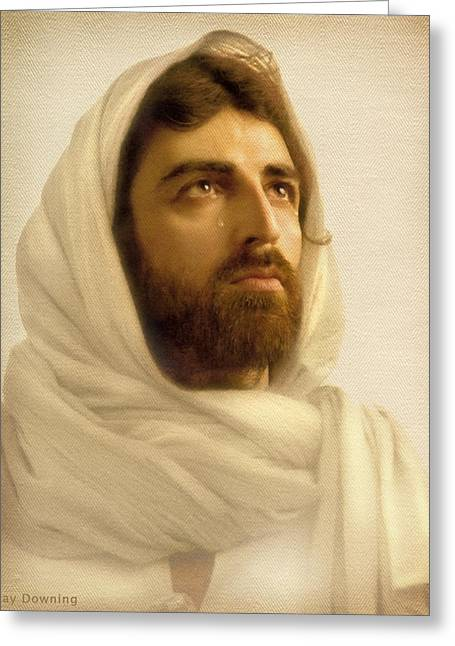 Head Digital Art Greeting Cards - Jesus Wept Greeting Card by Ray Downing