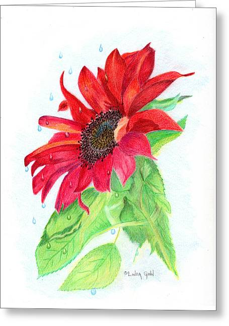 Jesus Wept Greeting Cards - Jesus Wept Red Sunflower Greeting Card by Linda Ginn