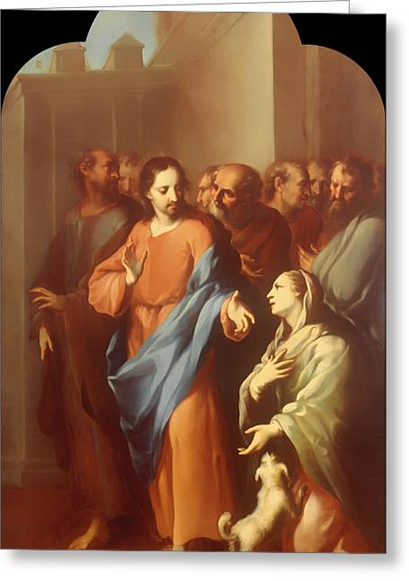 Religious Artwork Paintings Greeting Cards - Jesus with a Sick Woman Greeting Card by Juan Juarez