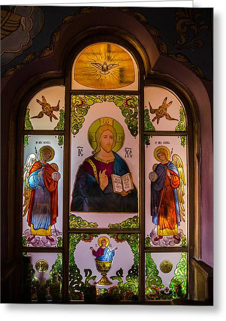 Jesus Glass Art Greeting Cards - Jesus with Archangels Greeting Card by Claud Religious Art