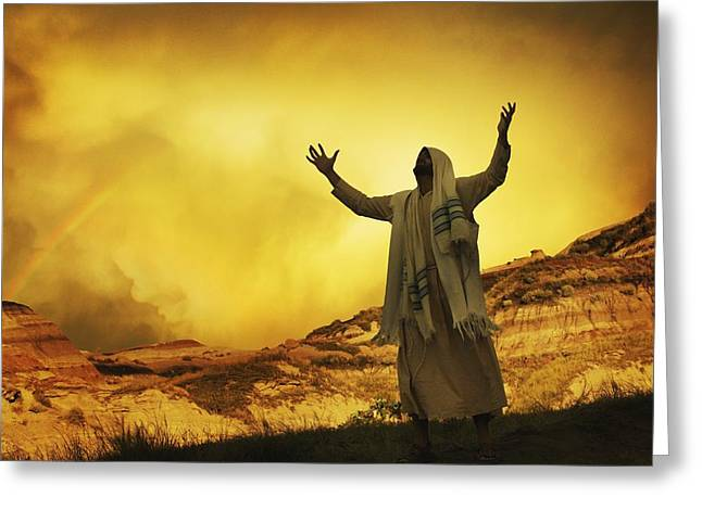 Jesus With Arms Stretched Towards Heaven Greeting Card by Don Hammond