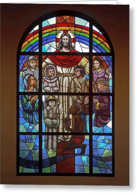 Symbolic Of The Child Greeting Cards - Jesus with Children Window Greeting Card by Sally Weigand