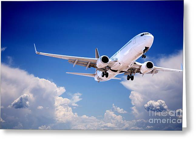 737 Greeting Cards - Jet Aeroplane Landing Through Gap in Stormy Sky Greeting Card by Colin and Linda McKie