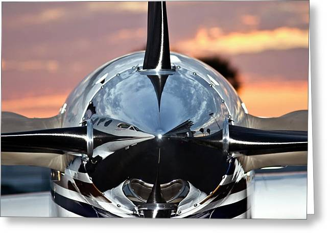 Airport Terminal Greeting Cards - Airplane at Sunset Greeting Card by Carolyn Marshall