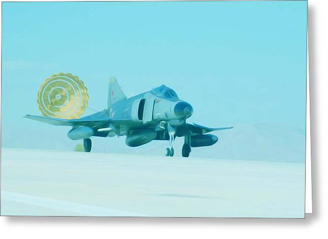 Airforce Paintings Greeting Cards - Jet deploys brake chute Greeting Card by Lanjee Chee