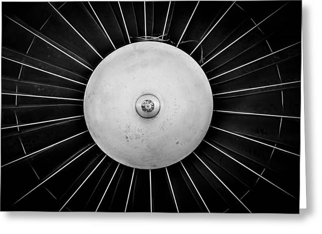 Propeller Pyrography Greeting Cards - Jet engine closeup in black and white  Greeting Card by Oliver Sved