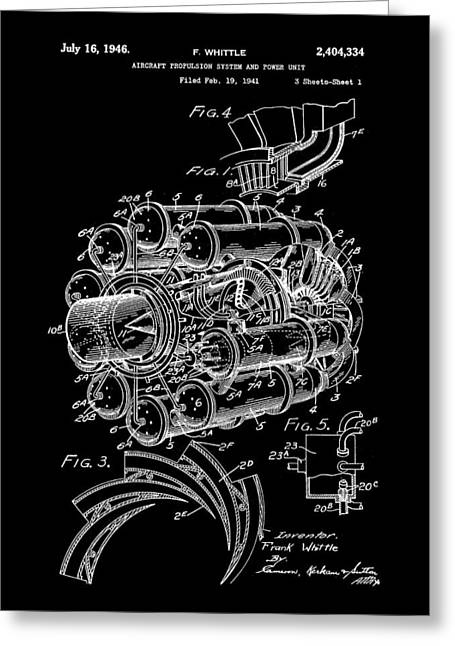 Turbojet Greeting Cards - Jet Engine Patent 1941 - Black Greeting Card by Stephen Younts
