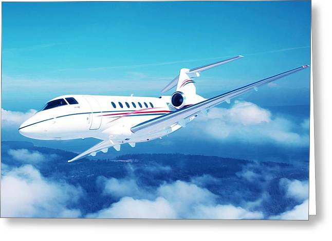 Corporate Elites Greeting Cards - Jet in the sky Greeting Card by Lanjee Chee