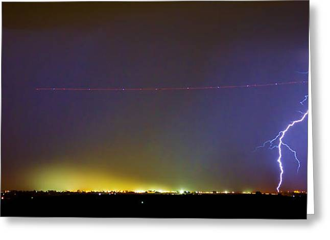 Storm Prints Photographs Greeting Cards - Jet Over Colorful City Lights and Lightning Strike Panorama Greeting Card by James BO  Insogna