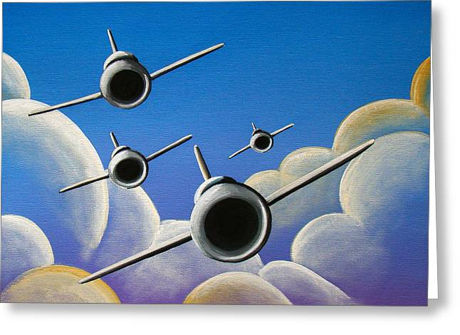 Airplane Greeting Cards - Jet Quartet Greeting Card by Cindy Thornton