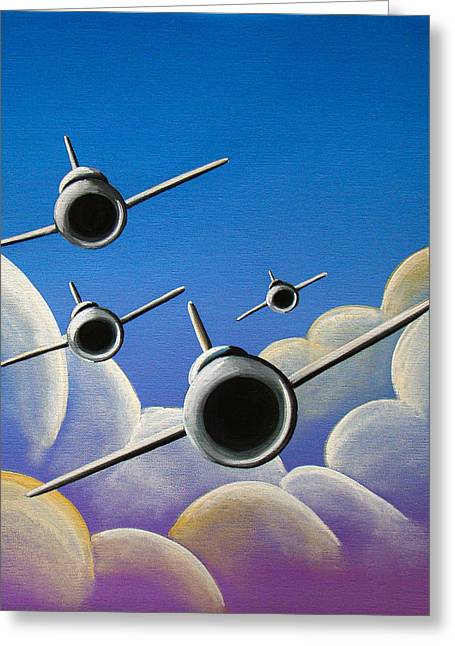 Military Airplanes Paintings Greeting Cards - Jet Quartet Greeting Card by Cindy Thornton