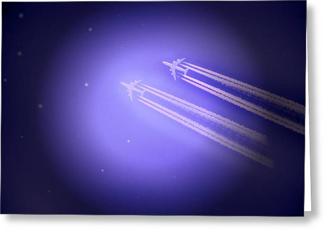 Jet Star Greeting Cards - Jet Race Greeting Card by Kelly Reber