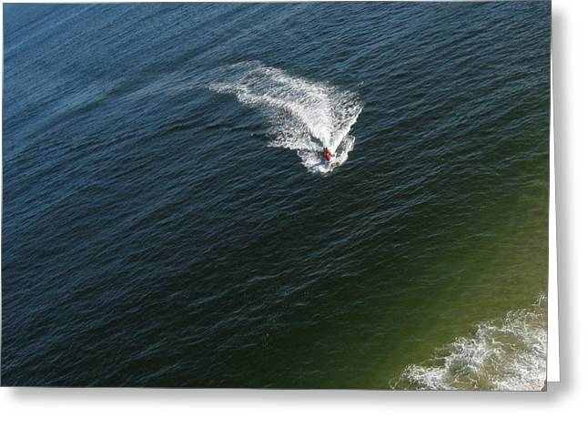 Aerial View Greeting Cards - Jet Ski Aerial View Greeting Card by Rob Huntley