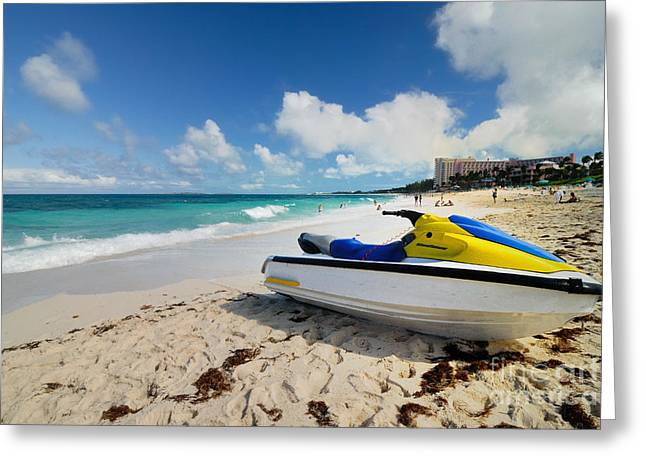 Runner Greeting Cards - Jet Ski on the Beach at Atlantis Resort Greeting Card by Amy Cicconi