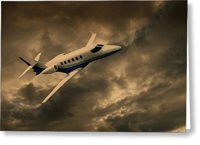 Passenger Plane Mixed Media Greeting Cards - Jet Through The Clouds Greeting Card by David Dehner