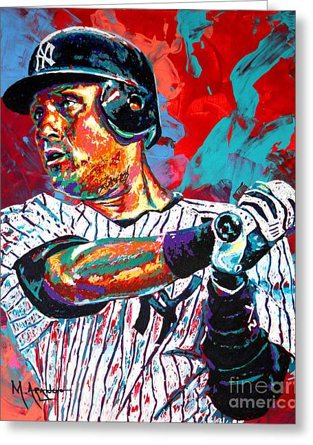 Baseball Paintings Greeting Cards - Jeter at Bat Greeting Card by Maria Arango